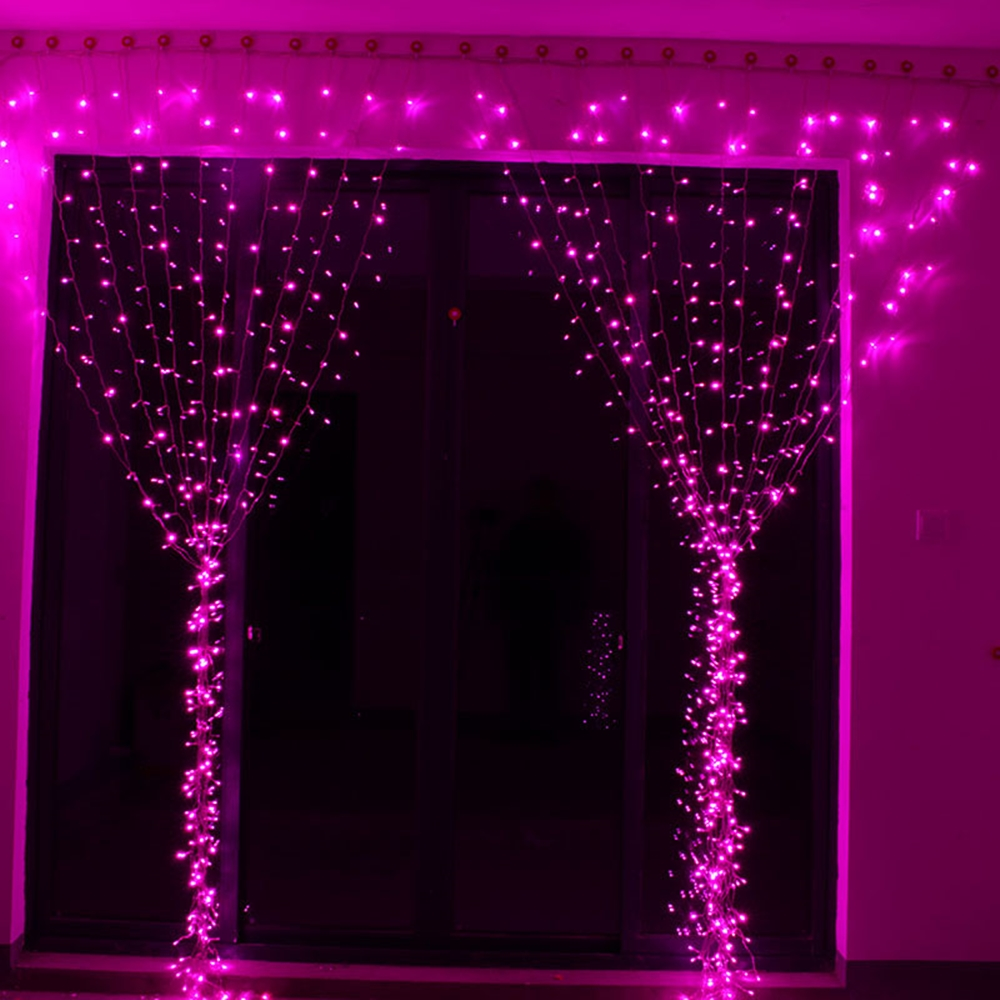 300 LED Curtain Lights – Pink – Theperfectco com