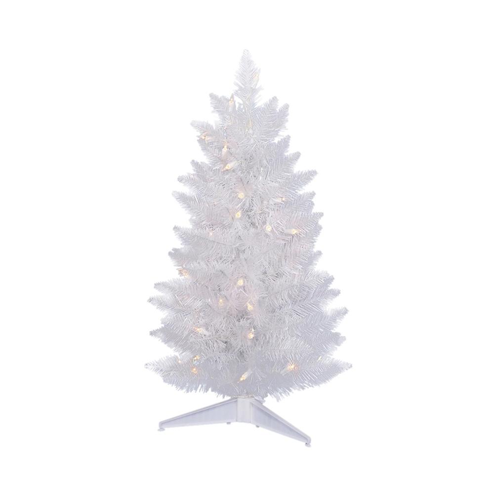 pre lit white christmas tree