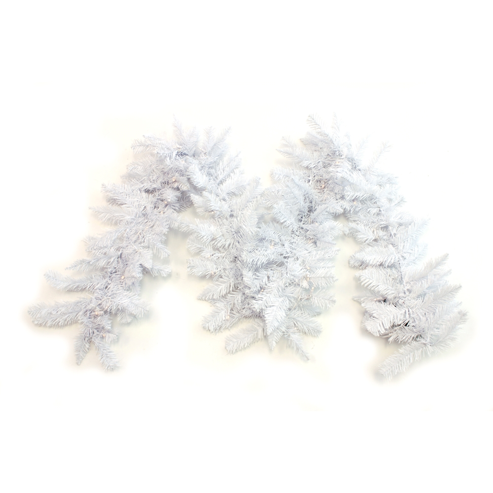 9 X 12 Prelit White Christmas Garland Battery Theperfectco Com