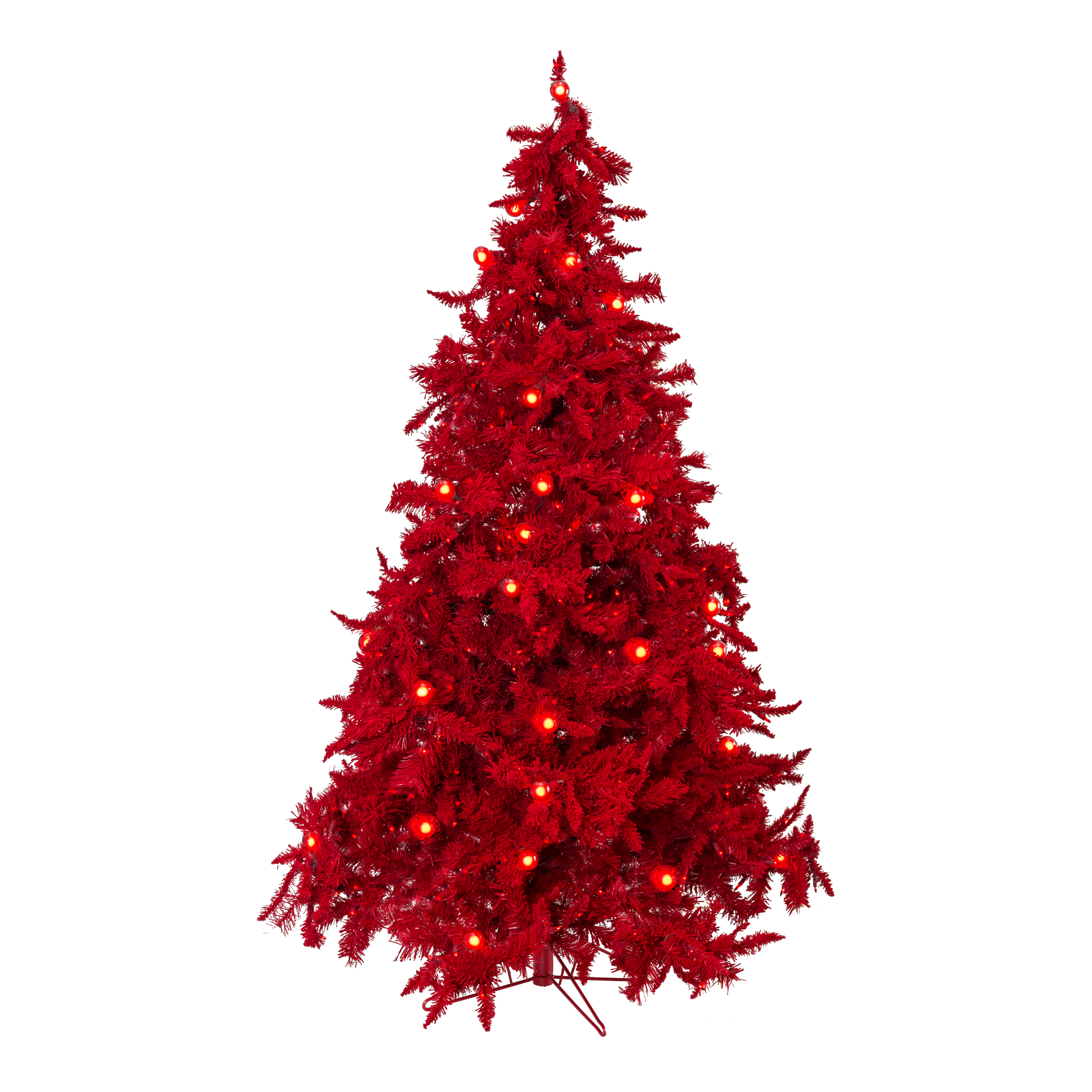 5 Prelit Ruby Red Christmas Tree With Small Large Lights 48 Dia 490 Tips Theperfectco Com