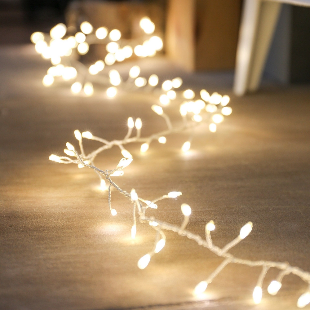 160 Led Cluster Light Garland Warm White Theperfectco Com
